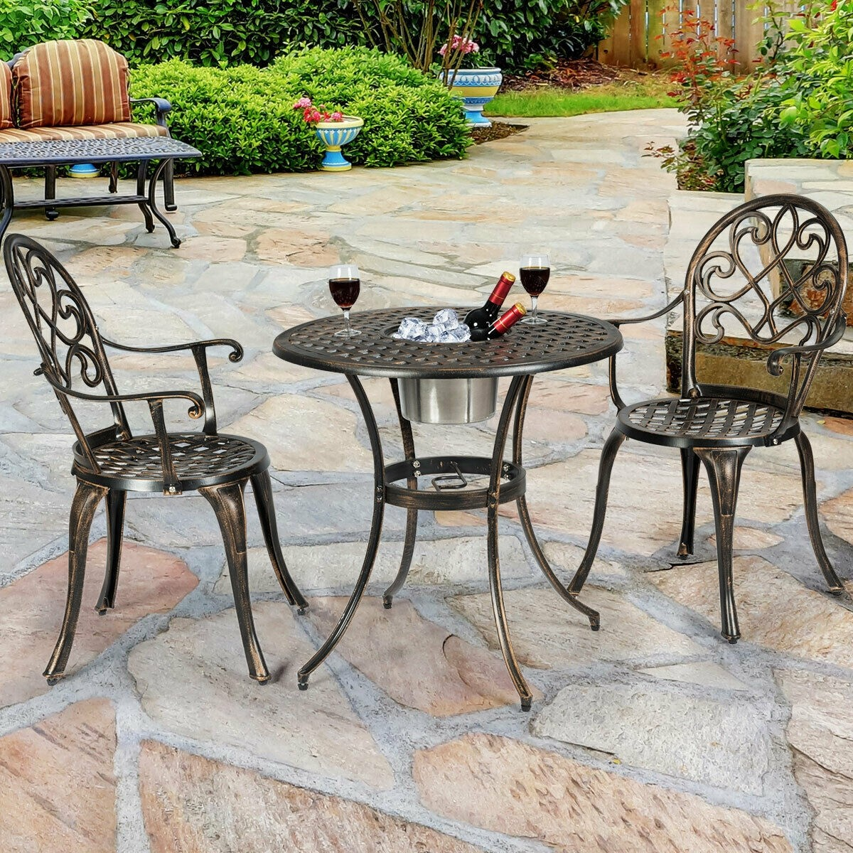 3 Pcs Outdoor Set Patio Bistro With Attached Removable Ice Bucket Outdoor Furniture Sets Outdoor Furniture Furniture